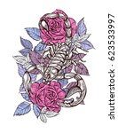 scorpion and roses   color... | Shutterstock .eps vector #623533997