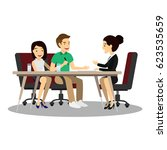 young couple meeting agent to... | Shutterstock .eps vector #623535659