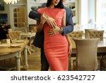 beautiful romantic couple... | Shutterstock . vector #623542727
