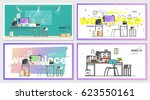 set of office workplace... | Shutterstock .eps vector #623550161