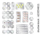 tablet  antibiotic  vitamin ... | Shutterstock .eps vector #623554811