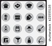 set of 16 editable cook icons.... | Shutterstock .eps vector #623555135