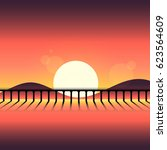 abstract sunset silhouette... | Shutterstock .eps vector #623564609