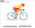cartoon rapid cyclist | Shutterstock .eps vector #623567615