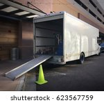 moving truck with ramp down... | Shutterstock . vector #623567759