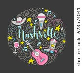 the circle with the nashville   ... | Shutterstock .eps vector #623574041