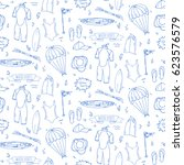 seamless pattern hand drawn... | Shutterstock .eps vector #623576579