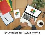 credit score  businessman... | Shutterstock . vector #623579945