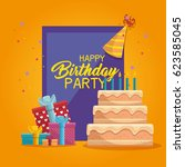 happy birthday cake card | Shutterstock .eps vector #623585045