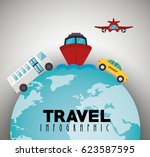 travel around world infographics | Shutterstock .eps vector #623587595