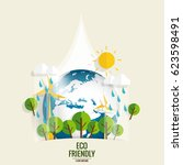eco friendly. ecology concept... | Shutterstock .eps vector #623598491