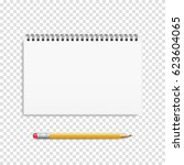 notebook mockup with pencil and ... | Shutterstock .eps vector #623604065