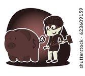 retro style thief businesswoman ... | Shutterstock .eps vector #623609159