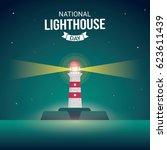 national lighthouse day vector... | Shutterstock .eps vector #623611439