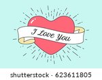 old ribbon with message i love... | Shutterstock .eps vector #623611805