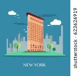 flatiron building new york... | Shutterstock .eps vector #623626919