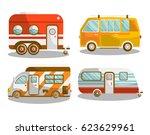 camping bus or camper van... | Shutterstock .eps vector #623629961