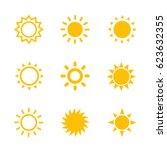 sun icons set on white | Shutterstock .eps vector #623632355