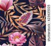 tropical flowers  jungle leaves ... | Shutterstock .eps vector #623635025