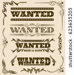 vintage wanted dead or alive... | Shutterstock .eps vector #623635205