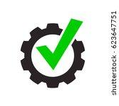 tick gear eps vector sign... | Shutterstock .eps vector #623647751