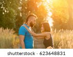 young man and woman in the... | Shutterstock . vector #623648831