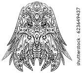 zen tangle stylized head of...   Shutterstock . vector #623649437