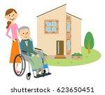 elderly people sitting in a... | Shutterstock .eps vector #623650451