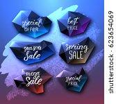 set of black polygonal labels.... | Shutterstock .eps vector #623654069