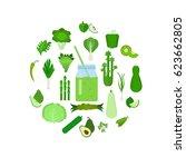 green vegetable set  detox....   Shutterstock .eps vector #623662805
