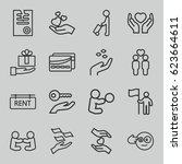 holding icons set. set of 16... | Shutterstock .eps vector #623664611