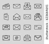 email icons set. set of 16... | Shutterstock .eps vector #623664641