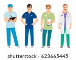 male doctor in white coat and... | Shutterstock .eps vector #623665445