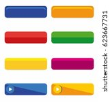 colorful long round buttons... | Shutterstock .eps vector #623667731