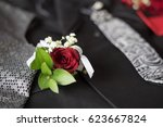 corsage boutonniere brooch on a ... | Shutterstock . vector #623667824