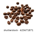 coffee beans isolated on white... | Shutterstock . vector #623671871