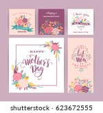 set of happy mothers day... | Shutterstock .eps vector #623672555