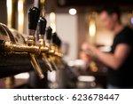 lot of vintage golden beer taps ... | Shutterstock . vector #623678447