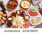 turkish breakfast  egg ... | Shutterstock . vector #623678855