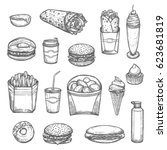 fast food vector sketch icons.... | Shutterstock .eps vector #623681819