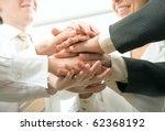 business people hands on top of ... | Shutterstock . vector #62368192