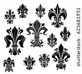 fleur de lis vector icons of... | Shutterstock .eps vector #623681951