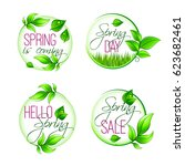 hello spring isolated icons... | Shutterstock .eps vector #623682461