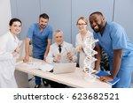 aged doctor enjoying working... | Shutterstock . vector #623682521