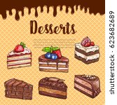 bakery desserts and cakes...   Shutterstock .eps vector #623682689