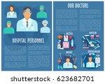 hospital personnel. vector... | Shutterstock .eps vector #623682701