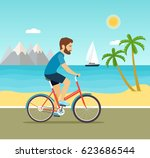 young man ride the bike on the... | Shutterstock .eps vector #623686544