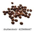 heap of coffee beans isolated... | Shutterstock . vector #623686667