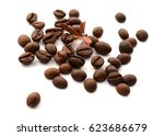 brown coffee on white...   Shutterstock . vector #623686679