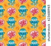 vector nautical pattern.... | Shutterstock .eps vector #623688965